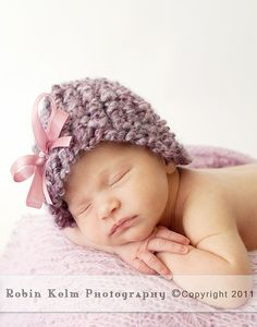 Purple Knit Hat/Beanie with ribbon bow-Newborn size-Photography Prop or Spring-Ready to ship
