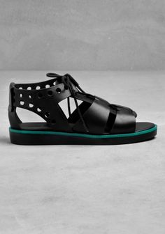 & OTHER STORIES These sandals are made from black leather with a laced vamp and perforated sides.