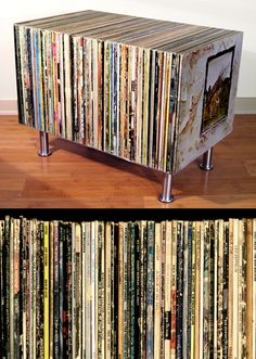 diy coffee table from vinyl records.. Great for the BAB. #vinyl
