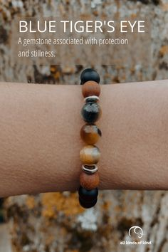Blue Tiger's Eye is a gemstone associated with protection and stillness. Blue Tigers Eye, Tigers Eye Gemstone, Wiccan, Jewlery, Beaded Bracelets, Gemstones, Crystals, Crafts, Style