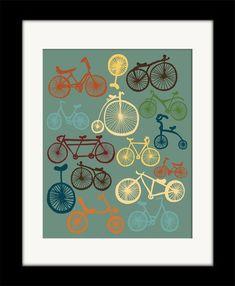 "Bicycles Print Art ""I LOVE BIKES"" 11x14 Blue, Orange & Yellow Modern Art Bike Poster. $21.00 USD, via Etsy."