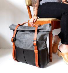 Weekender Bag, gewachstem Canvas, Roll Top Leinwand Reise Tasche Rucksack aus…