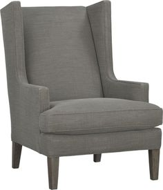 One distinguished seat, our modern wing chair offers a stately refuge with its tall, proud back and enveloping sides.  Clean, contemporary lines in a stonewashed coffee linen weave offers a casual update on the traditional parlor chair.  Oak legs with a charcoal finish complete the look. After you place your order, we will send a fabric swatch via next day air for your final approval.  We will contact you to verify both your receipt and approval of the fabric swatch before finalizing your…