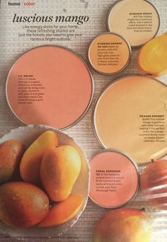 garden painting Energize your home with these gorgous paint colors inspired by luscious mangos. Get an iPad subscription and try out different wall colors. Interior Paint Colors, Paint Colors For Home, Peach Paint Colors, Coral Paint Colors, Interior Design, Luxury Interior, Interior Walls, Garden Painting, House Painting