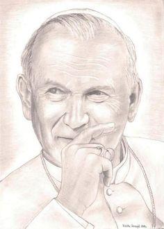 Juan Pablo II - Beato Papa Francisco, Catholic Gifts, Catholic Art, Papa Juan Pablo Ii, Christ Tattoo, Pope John Paul Ii, Pope Francis, My Drawings, Saint John