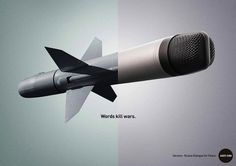 Powerful Ads Juxtapose Weapons And Tools Of Speech To Fight For Peace - DesignTAXI.com