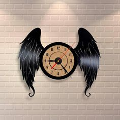 Shop for on Etsy, the place to express your creativity through the buying and selling of handmade and vintage goods. Vinyl Record Crafts, Vinyl Record Clock, Record Wall, Vinyl Art, Vinyl Records, Baum Von Gondor, Angel Wings Art, How To Make Wall Clock, Vinyl Quotes