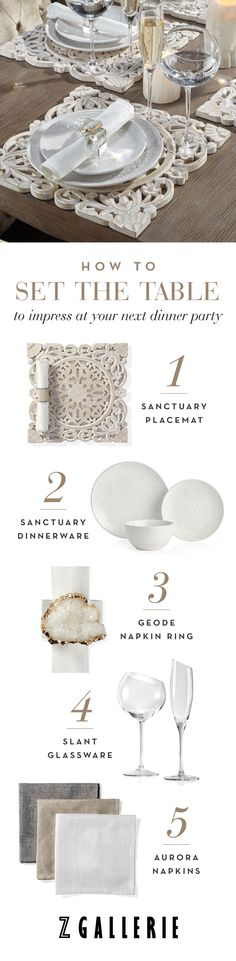 This season, we designed 6 stylish place settings that are perfect for summer celebrations. Layer our distinctive placemats, dinnerware, napkin rings, and glassware for a fashion forward look.