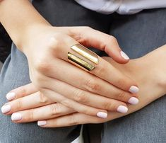 Gold long ring Chunky ring Open ring Large ring by HLcollection