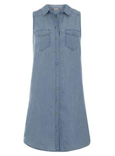Lightwash Sleeveless Denim Shirt Dress