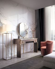 玄关桌 / 梳妆台 TRILOGY | 玄关桌 by Capital Collection Wood Bed Design, Sofa Design, Furniture Design, Interior Design, Deco Furniture, Dressing Table Design, Dressing Table With Stool, Dressing Tables, Wooden Console Table