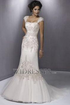 Trumpet/Mermaid Straps Organza Wedding Dress - IZIDRESSES.COM at IZIDRESSES.com