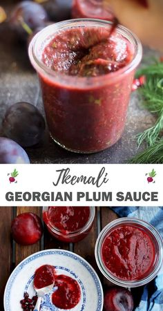 Tkemali is a very flavorful and nutrient-dense Georgian plum sauce that is a great healthier alternative to ketchup or c Plum Recipes Healthy, Mexican Food Recipes, Vegetarian Recipes, Great Recipes, Plum Recipes Dinner, Georgian Cuisine, Georgian Food, Pesto Dip, Ketchup