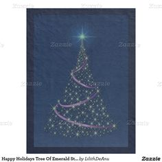 Happy Holidays Tree Of Emerald Stars Fl. Blanket Fleece Blanket