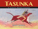 """2014 Moonbeam Medalist - Multicultural Picture Book. """"Written in both English and Lakota, Donald F. Montileaux retells the legend of Tasunka from the traditional stories of the Lakota people. Using the ledger-art style of his forefathers he adds colorful detail. His beautiful images enhance our understanding of the horse and its importance in Lakota culture."""""""