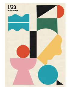 this structure of abstract shapes reminds me a bit of the game Tetris, that you have different shapes and need to make t City Poster, Poster S, Art Vintage, Vintage Poster, Shape Art, Shape Design, Art And Illustration, Character Illustration, Illustrations Posters