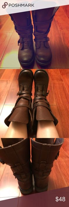 Steve Madden brown leather boots Softest brown leather.  Brushed rubber outsole Extremely comfortable! It's in excellent condition Size 5-5.5 I wear size 5 and this is roomy enough to wear with thick socks. Steve Madden Shoes Combat & Moto Boots