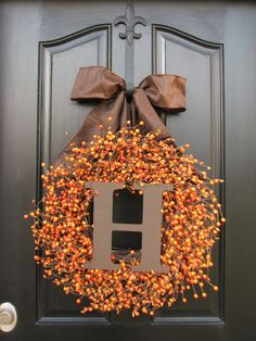 Thanksgiving Decor, Thanksgiving Dinner, Jack O Lantern, Pumpkin Orange Berry Wreath, Pumpkin Pie, Custom Wreath, Front Door Wreaths on Etsy, $105.00
