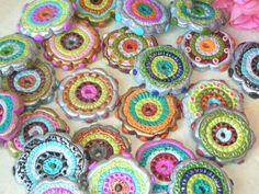 handmade polymer clay disk bead FOCAL BEADS  2 beads. $12,00, via Etsy.