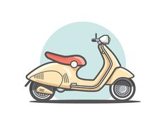 Vespa designed by Chris Cherry. the global community for designers and creative professionals. Flat Design Illustration, Simple Illustration, Graphic Illustration, Vespa Illustration, Icon Design, Design Art, Bike Drawing, Affinity Designer, Motorcycle Art