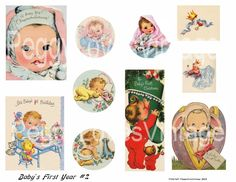 Baby's First Year 2 Digital Collage from by PeggyLovesVintage, $2.50