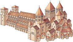 Reconstitution graphique de Cluny III, 1088-1132 : par des 187m de long sur 90m de large au niveau du transept et ses 32m de hauteur sous voûte, c'est à son époque la plus grande église occidentale de la chrétienté.