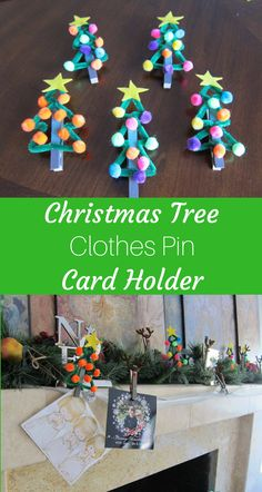 A fun way to showcase all of those fun holiday and Christmas cards you get each year. Make clothes pin Christmas trees.