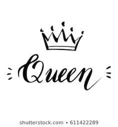Queen crown vector calligraphy design funny poster Queen