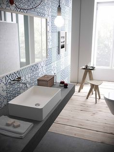 Countertop rectangular HI-MACS® washbasin - by LG Hausys Europe Bathroom Interior, Modern Bathroom, Interior Design Living Room, Bathroom Remodeling, Bad Inspiration, Bathroom Inspiration, Style At Home, Bathroom Trends, Home Fashion