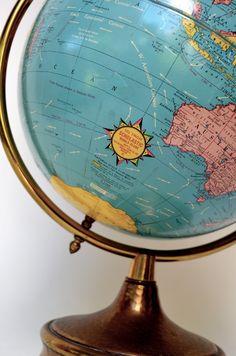 Mid Century Modern Original World Map Globe Lamp. It Spins!