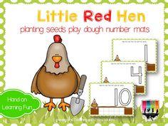 Little Red Hen planing seeds play dough math mats. FREEBIE!