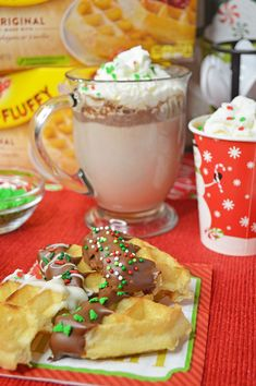 Hot Chocolate and Dipped Waffles Bar - Planning Inspired ad Fun Holiday Desserts, Holiday Side Dishes, Holiday Recipes, Christmas Recipes, Christmas Ideas, Christmas Candy, Dip Bar, Delicious Desserts, Yummy Food