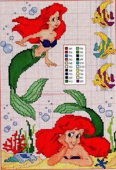 """Ariel"" The Little Mermaid Disney Cross Stitch Patterns, Cross Stitch Charts, Cross Stitch Designs, Patchwork Disney, Disney Quilt, Mermaid Cross Stitch, Cross Stitch Fairy, Disney Stitch, Kitty Play"