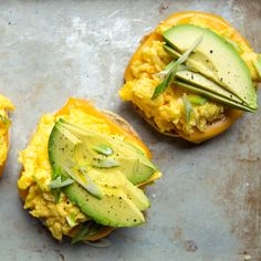 Open Face Scrambled Egg & Avocado Cheddar Muffin ... I'd add a bit of red pepper flake and a drizzle of olive oil over the top.