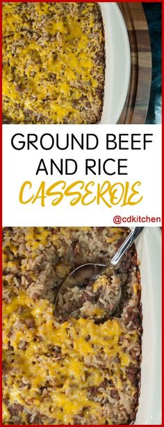 An easy family favorite. Ground beef is mixed with onion soup mix, cream of mushroom soup, onion, and rice and baked in a casserole dish until done. | CDKitchen.com