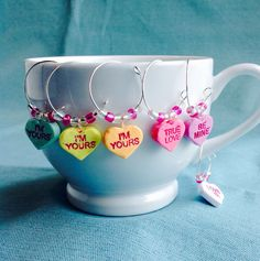 Conversation Heart Wine Charms, Set of 6, Coffee Mug or Champagne Glass Charm, Candy, Pink, Purple, White, Green, Yellow, Orange, Valentine by KatarooClay on Etsy