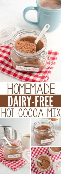 Homemade Hot Cocoa Mix (Dairy-Free) Looking for a hot cocoa mix without the junk ingredients? This homemade mix has 3 simple dairy-free ingredients and takes just 5 minutes to make! With no refined-sugar, this recipe gets two thumbs up from kids and moms! Dairy Free Hot Chocolate, Vegan Hot Cocoa Recipe, Chocolate Cheese, Hot Cocoa Recipe Without Milk, Hot Chocolate Without Milk, Sugar Free Hot Cocoa Mix Recipe, Chocolate Diy, White Chocolate, Dairy Free Biscuits