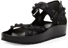Balenciaga Studded Thick-Sole Flat Nylon Sandal, Noir on shopstyle.com