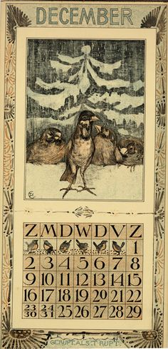 Calendar 1906 going to the zoo - december // décembre Description Physique: 1 calendar, 12 leaves : col. ill. ; 48 x 22 cm. Hoytema, Theodoor van, 1863-1917 ( illustrator ) Editeur: Tresling & Co. Date Éditée: 1906