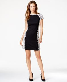 kensie Lace-Detail Ponte Sheath Dress - Dresses - Women - Macy's