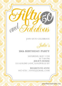 Birthday Invitations : 50th Birthday Invitation with Free Printable Template and Damask Pattern Border featuring Vintage Frame combine with Yellow Lettering Quote - Free Printable Ecard Birthday Party Template