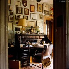 Home Office With Framed Wall Arts And Roll Top Desk Wooden Furniture Desks Allow You To Close Off Your Worke When