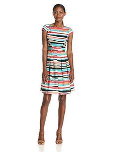 Anne Klein Women's Cap Sleeve Striped Dress, Koi/Multi, 2 Anne Klein http://www.amazon.com/dp/B00JVGQQNO/ref=cm_sw_r_pi_dp_pDd6tb0J84YJN