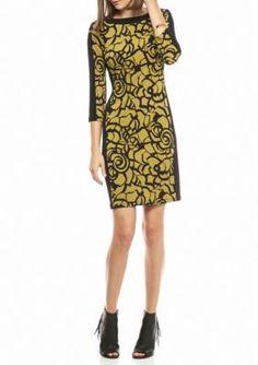 Nine West BambooBlack Printed Jersey Shift Dress
