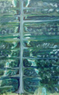 Vertikaal landschap.  Acryl op papier 50 x70