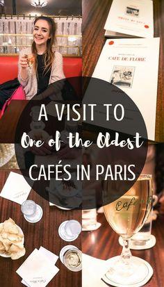 Café de Flore Café review: a visit to one of the oldest cafés in Paris, France. A visit to a 19th century coffee shop in the Saint-Germain-des-Prés Arrondissement!