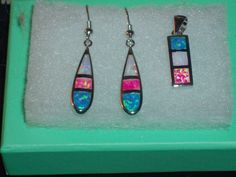 LOOK!!!!! A STERLING SILVER PINK, WHITE AND BLUE FIRE OPAL DANGLE EARRINGS AND MATCHING PENDANT