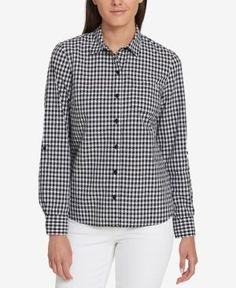 Tommy Hilfiger Cotton Houndstooth Utility Shirt, Created for Macy's - Black XXL