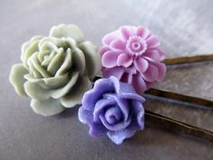 Flower Bobby Pins Floral Hair Accessories A by PaigeandPenelope