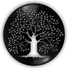 ÁRVORE - Arte em disco de LP Vinyl Record Crafts, Vinyl Art, Cd Crafts, Arts And Crafts, Cd Diy, Plastic Bottle Art, Watercolor Art Diy, Diwali Craft, Seashell Painting